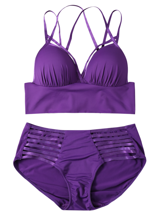 Push Up Strappy Cutout Bra Set - PURPLE 70C Mobile