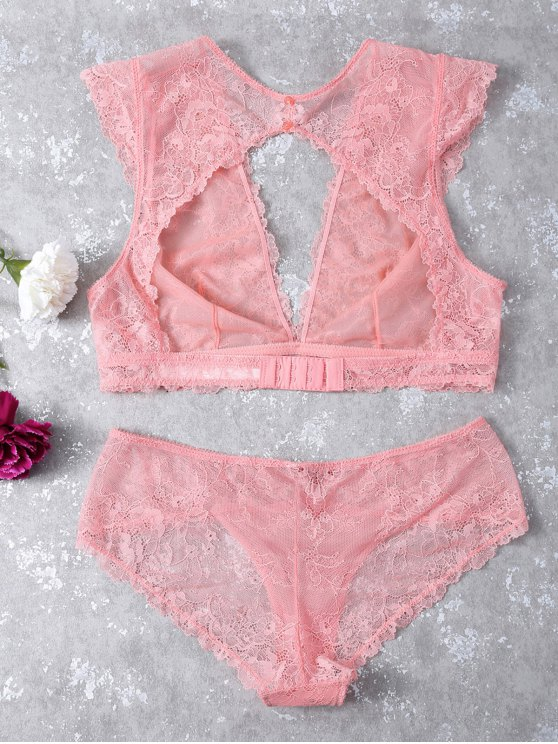 See-Through Scalloped Lace Bra Set - LIGHT PINK M Mobile