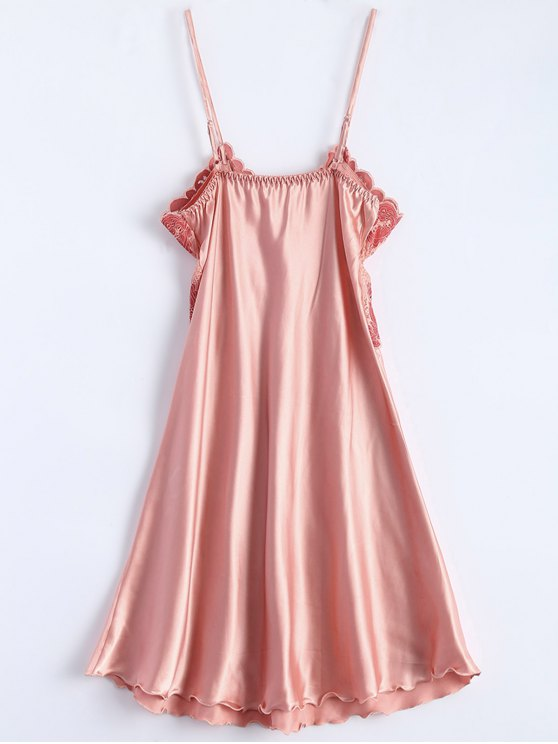 Spaghetti Strap Faux Silk Sleep Dress - LIGHT PINK ONE SIZE Mobile