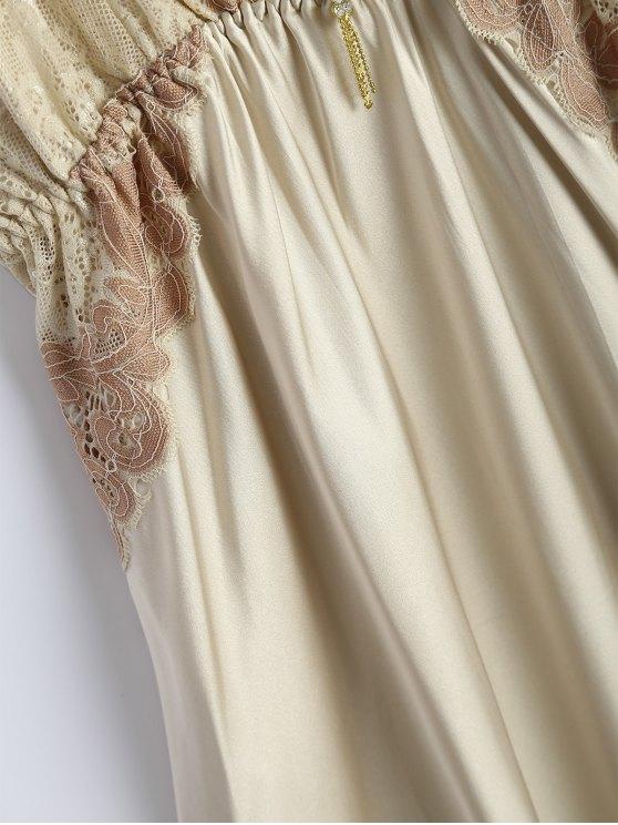 Spaghetti Strap Faux Silk Sleep Dress - BEIGE ONE SIZE Mobile