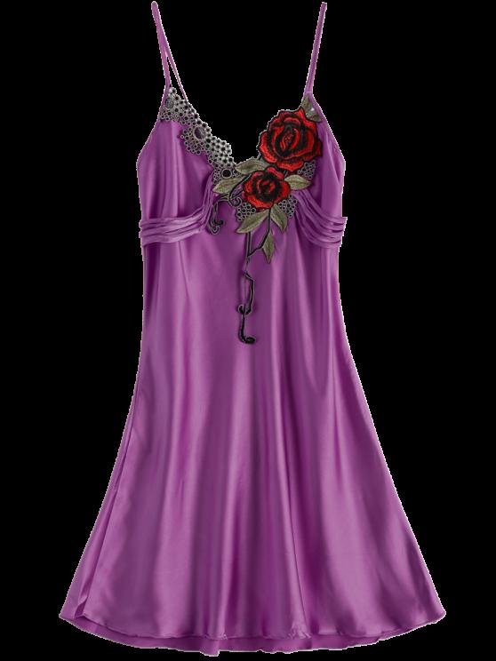 Slip Rose Faux Silk Babydolls - PURPLE ONE SIZE Mobile