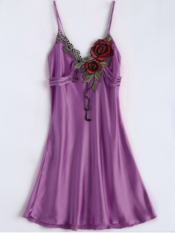 Slip Rose Faux Silk Babydolls - PURPLE ONE SIZE Mobile