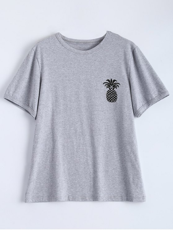 Pineapple Print Tee - GRAY 2XL Mobile