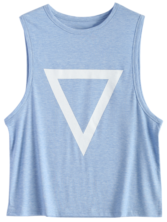Triangle Pattern Tank Top - LIGHT BLUE M Mobile