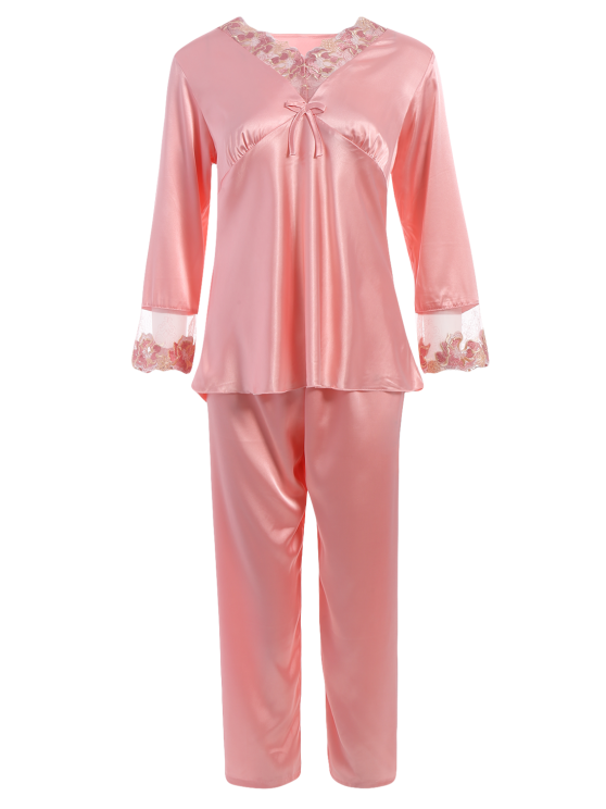 Bowknot Lace Insert Faux Silk Pajama Set - LIGHT PINK L Mobile