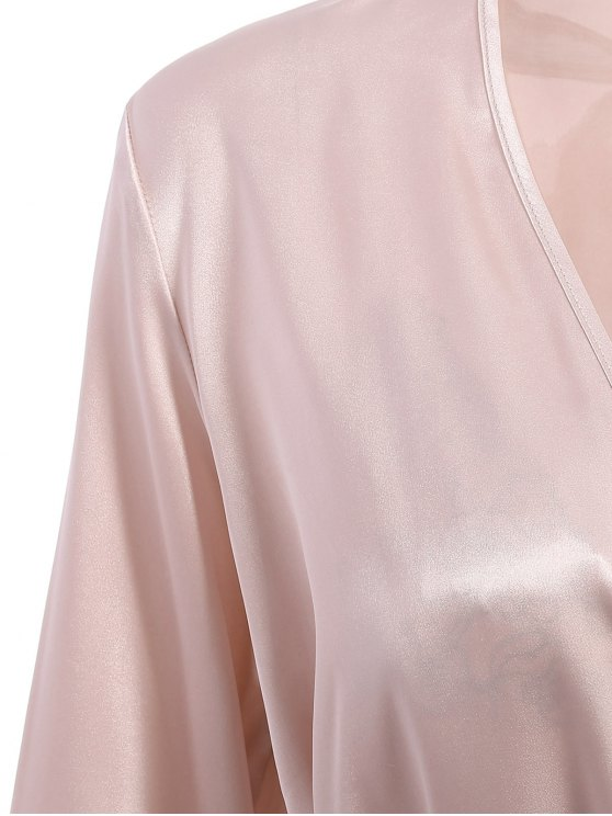 Faux Silk Outerwear and Slip Dress Loungewear - NUDE PINK L Mobile