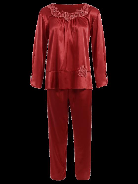 Bowknot Faux Silk Sleepwear Suit - WINE RED L Mobile