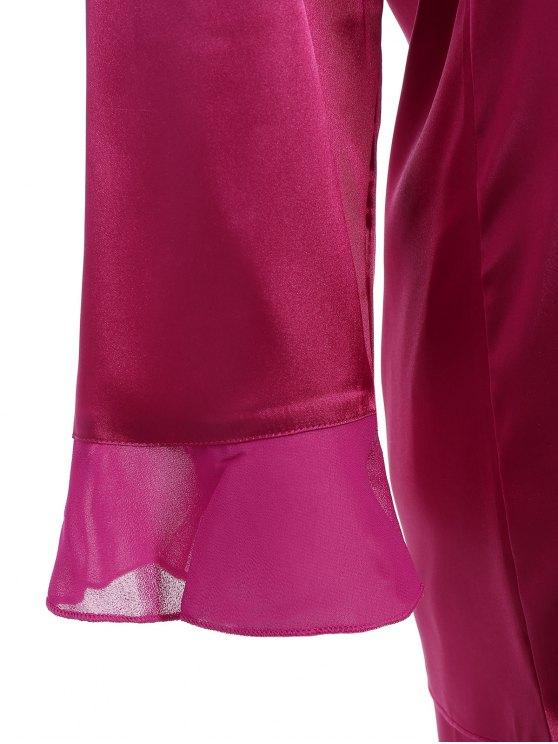 Fringed Ruffle Pullover Faux Silk Loungewear - PURPLISH RED XL Mobile