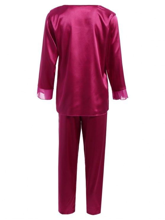 Fringed Ruffle Pullover Faux Silk Loungewear - PURPLISH RED L Mobile