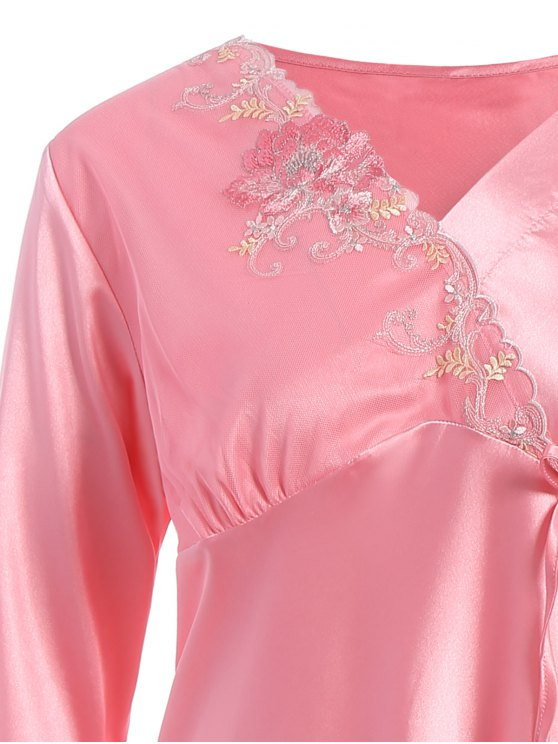 Lace Panel Long Sleeve Faux Silk Pajama Suit - PAPAYA L Mobile