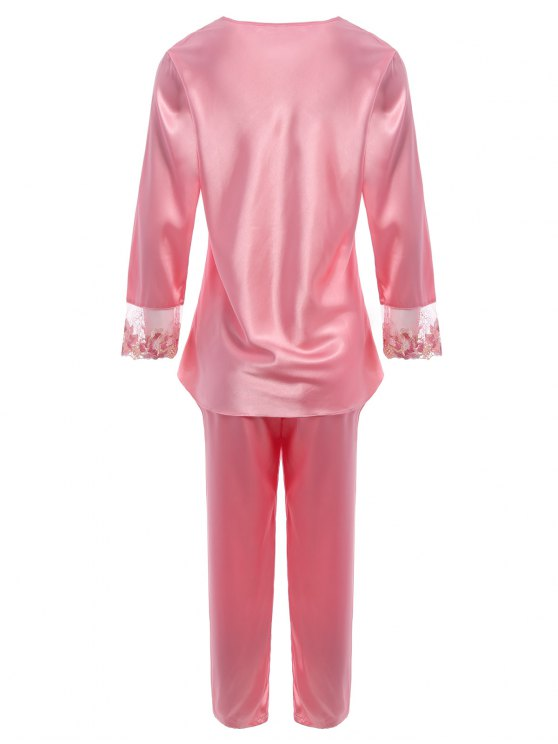 Bowknot Lace Insert Faux Silk Pajama Set - PAPAYA M Mobile