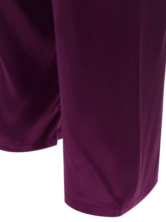 Bowknot Faux Silk Sleepwear Suit - DEEP PURPLE L Mobile