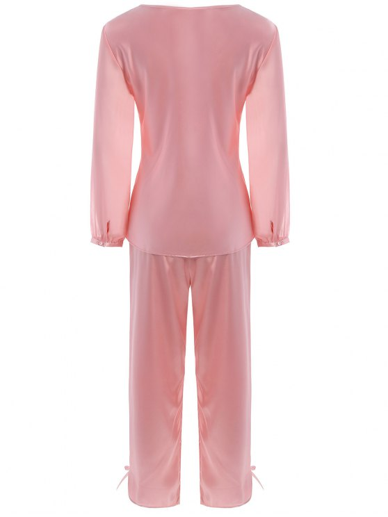 Bowknot Faux Silk Chiffon Pullover Pajama Suit - LIGHT PINK XL Mobile