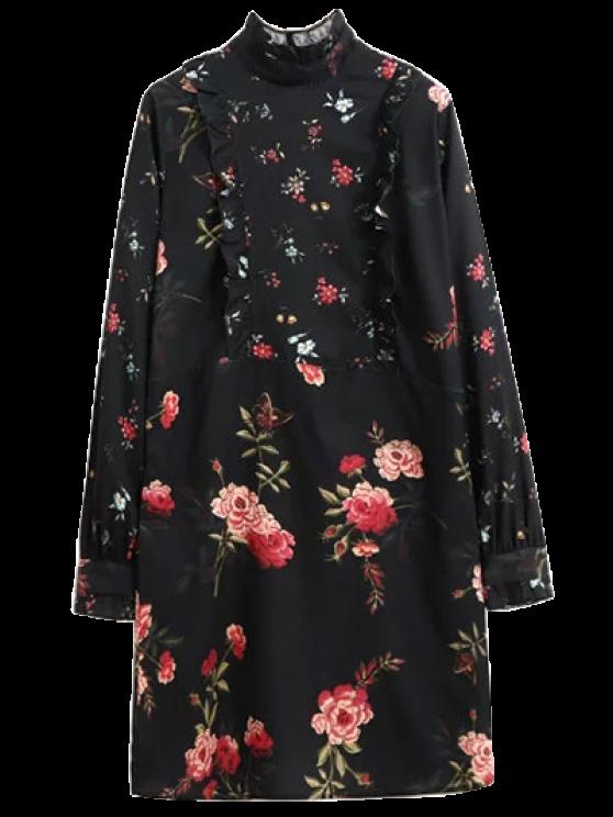 Ruffle Medio Cuello del vestido largo de la manga floral - Negro S