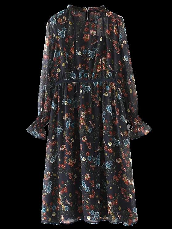 women's Printed Sheer Chiffon Dress With Slip Dress - BLACK S