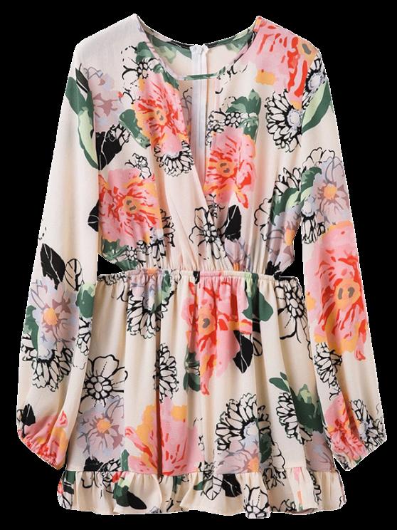 Impresión floral de la cintura del recorte del vestido ojo de la cerradura - Floral L