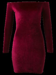 Off The Shoulder Long Sleeve Velvet Dress - Burgundy M