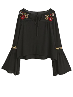 Lace Up Flare Sleeve Embroidered Blouse - Black S