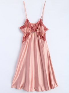 Spaghetti Strap Faux Silk Sleep Dress - Light Pink