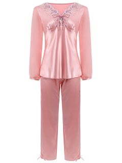 Bowknot Faux Silk Chiffon Pullover Pajama Suit - Light Pink M