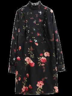 Ruffle Mock Neck Long Sleeve Floral Tunic Dress - Black L