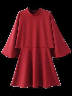 Mock Neck Papillon Mini Robe à Manches - Rouge M