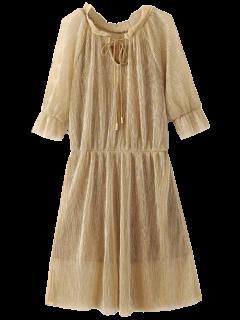Shiny Sheer Dress And Slip Dress - Golden S