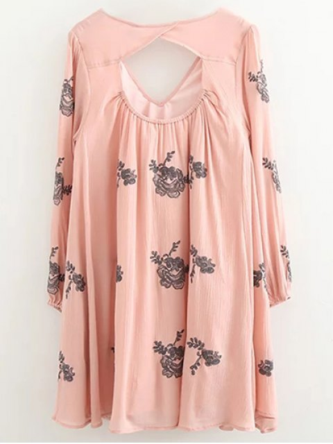 sale Long Sleeve Embroidered Swing Dress - PINK S Mobile