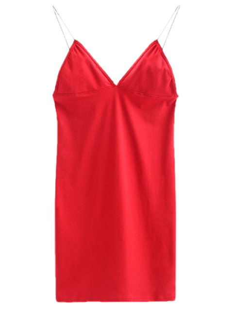 ladies Elastic Spaghetti Strap Mini Bodycon Dress - BRIGHT RED M Mobile