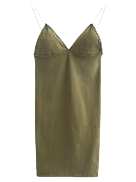 women's Elastic Spaghetti Strap Mini Bodycon Dress - FLAX GREEN S Mobile
