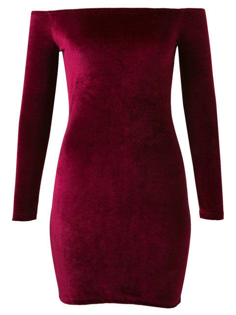 online Off The Shoulder Long Sleeve Velvet Dress - BURGUNDY M Mobile