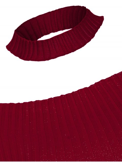 new Short Sleeve Off The Shoulder Choker Knitwear - WINE RED ONE SIZE Mobile