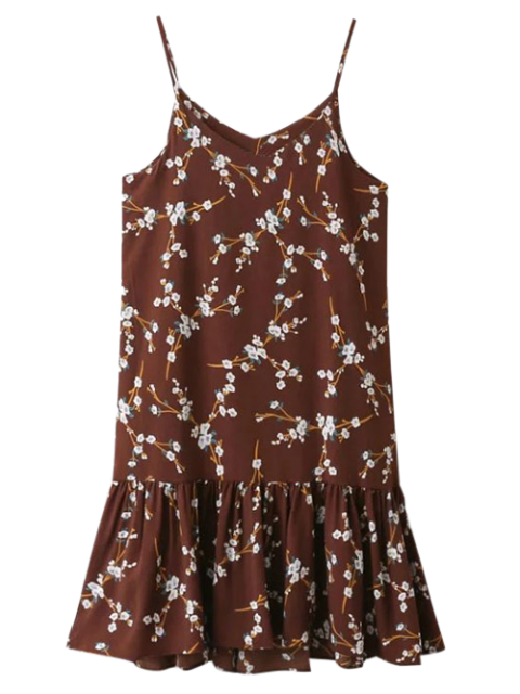 outfits Spaghetti Strap Ruffle Floral Print Dress - CLARET ONE SIZE Mobile