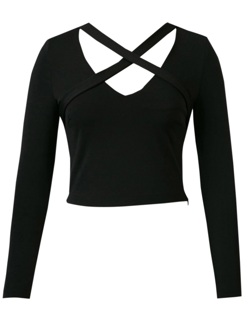 buy Banded Criss Cross Crop Top - BLACK L Mobile