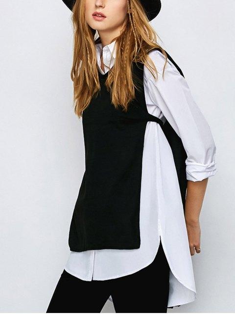 fancy Side Slit Long Top - BLACK M Mobile