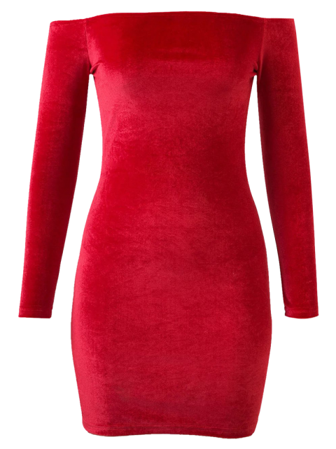 outfits Off The Shoulder Long Sleeve Velvet Dress - BRIGHT RED S Mobile