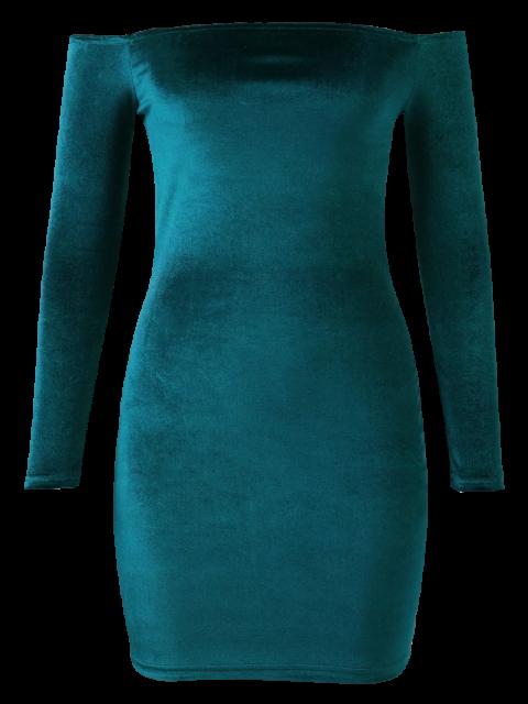ladies Off The Shoulder Long Sleeve Velvet Dress - LAKE GREEN M Mobile