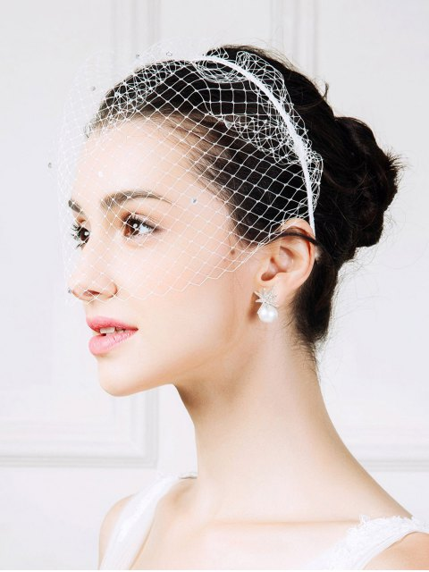 shops Mesh Veil Rhinestone Hairband - WHITE  Mobile