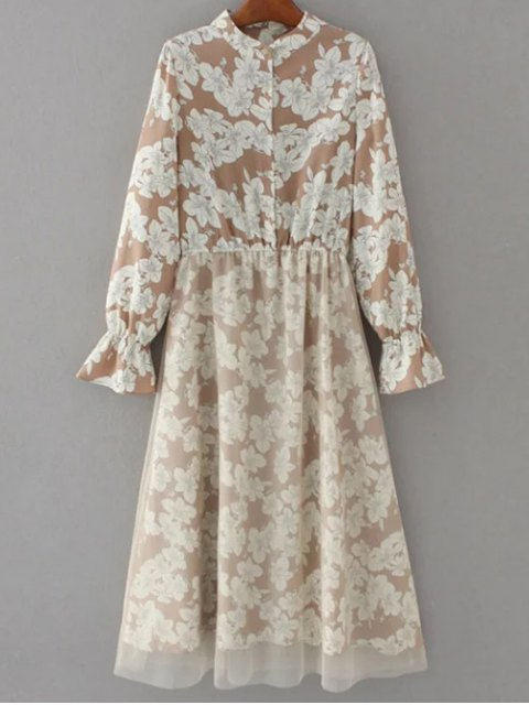 new Long Sleeve Tulle Panelled Floral Dress - LIGHT BROWN S Mobile