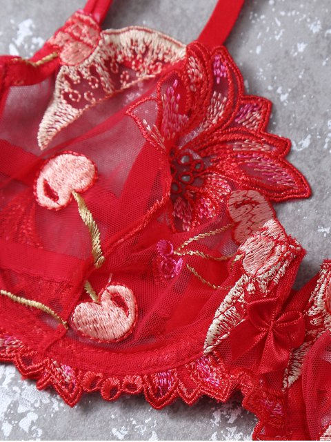 new Embroidered Lace Panel See-Through Bra Set - RED 70B Mobile