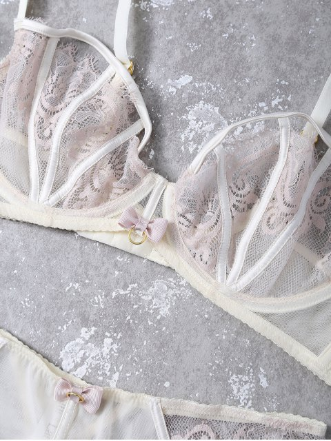 buy Bowknot Lace Panel Scalloped Bra Set - APRICOT 75C Mobile