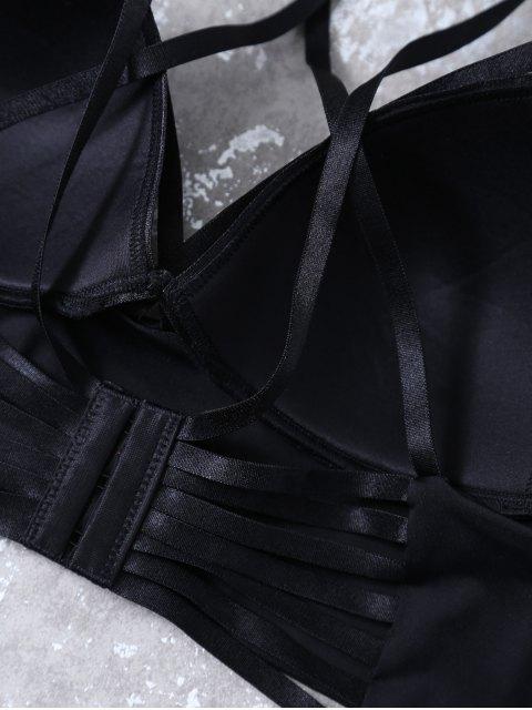 women's Push Up Strappy Cutout Bra Set - BLACK 85B Mobile
