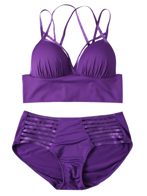 best Push Up Strappy Cutout Bra Set - PURPLE 80C Mobile