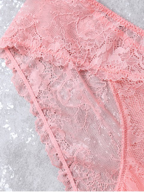 best See-Through Scalloped Lace Bra Set - LIGHT PINK L Mobile