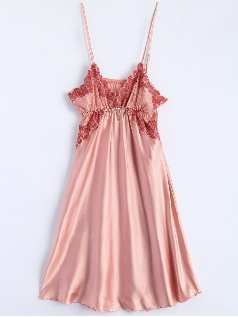 chic Spaghetti Strap Faux Silk Sleep Dress - LIGHT PINK ONE SIZE Mobile
