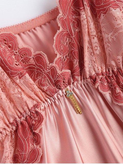 chic Spaghetti Strap Faux Silk Sleep Dress - LIGHT PINK ONE SIZE Mobile