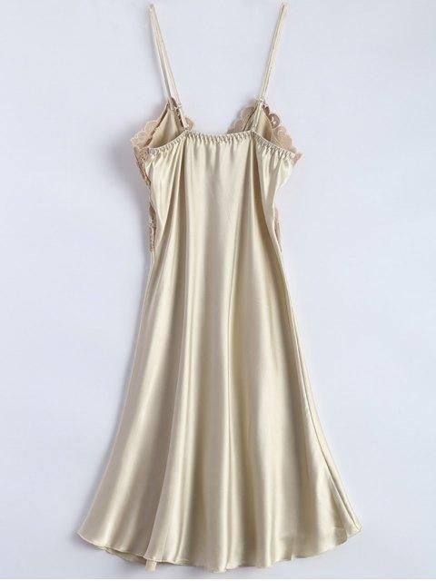 fancy Spaghetti Strap Faux Silk Sleep Dress - BEIGE ONE SIZE Mobile