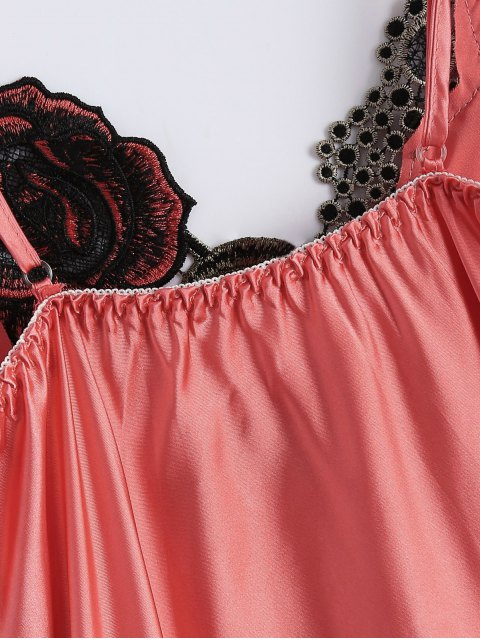 affordable Slip Rose Faux Silk Babydolls - WATERMELON RED ONE SIZE Mobile