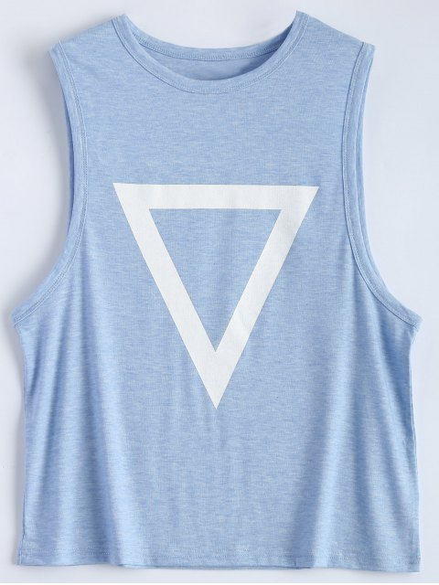 shops Triangle Pattern Tank Top - LIGHT BLUE S Mobile