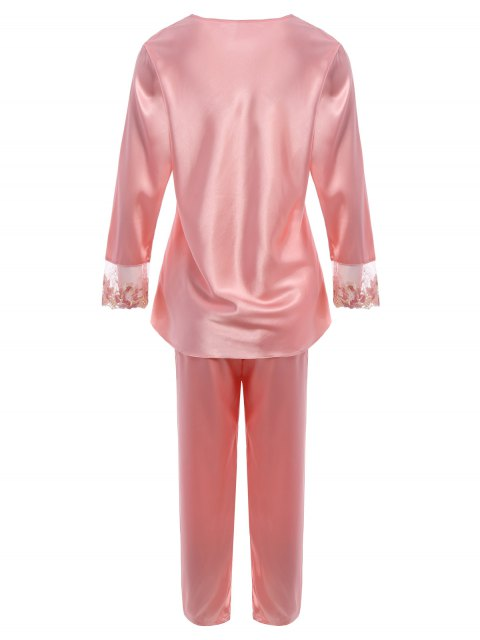 online Bowknot Lace Insert Faux Silk Pajama Set - LIGHT PINK L Mobile